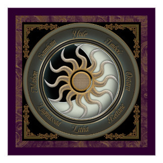 Sun and Moon Pagan Wheel Poster