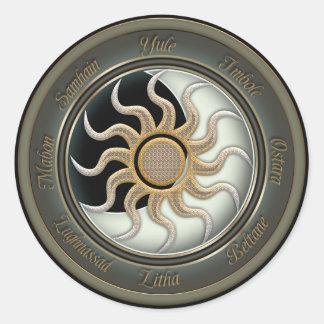 Sun and Moon Pagan Wheel Round Sticker