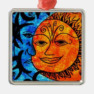 Sun and Moon Silver-Colored Square Decoration