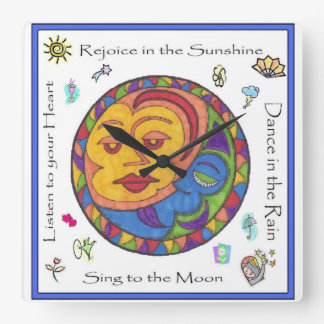 Sun and Moon square wall clock