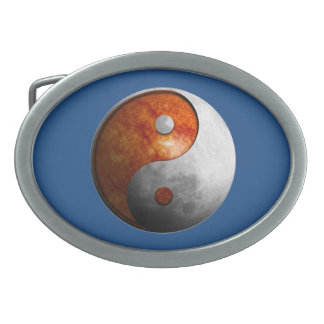Sun and Moon Yin Yang Oval Belt Buckle