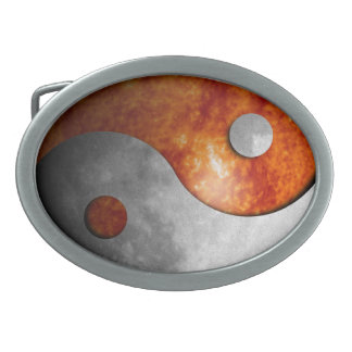Sun and Moon Yin Yang Oval Belt Buckles