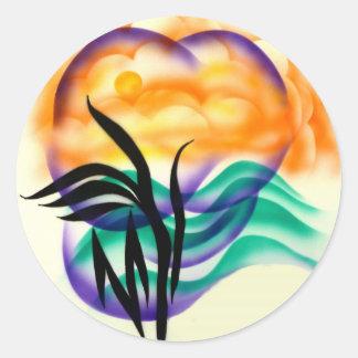 sun and palm classic round sticker