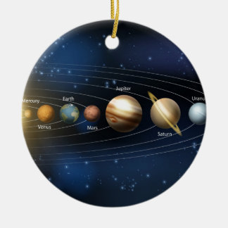 Sun and planets of the solar system round ceramic decoration