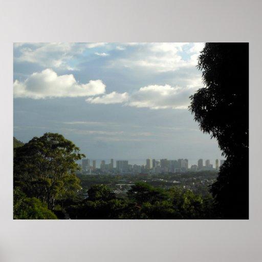 Sun and Rain over Manoa and Waikiki. Posters
