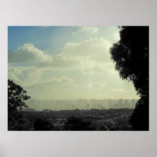 Sun and Rain over Manoa and Waikiki. Poster
