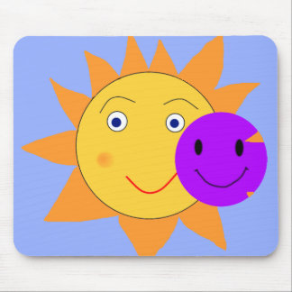 Sun and Smiley Mouse Pad
