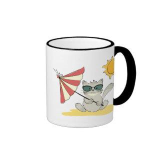 Sun Bathing Cool Cat Mugs