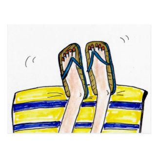 Sun-bathing! Flip flops! Postcard