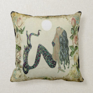 Sun Bathing Vintage Mermaid Cushion