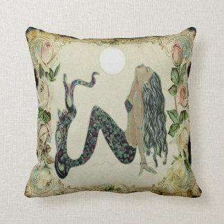 Sun Bathing Vintage Mermaid Throw Cushion