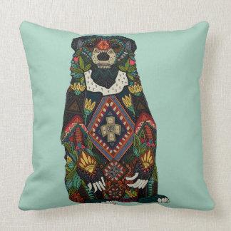 sun bear mint throw pillow