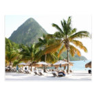 Sun Beds on a beach near the Pitons in St Lucia Postcard