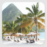 Sun Beds on a beach near the Pitons in St Lucia Square Sticker