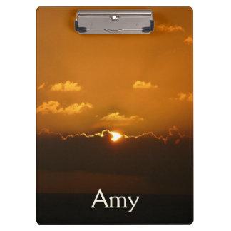 Sun Behind Clouds I Orange Seascape Clipboard