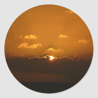 Sun Behind Clouds I Orange Seascape Round Sticker