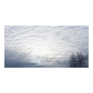 Sun behind clouds custom photo card