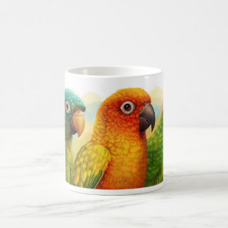 Sun blue-crowned green-cheeked conures morphing mug
