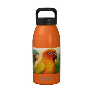 Sun blue-crowned green-cheeked conures reusable water bottle