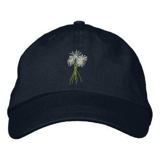 Sun cap. Flower Bunch. Cornish White Moon Daisies Embroidered Hat