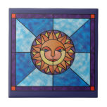 Sun Celestial Vintage Stained Glass Style