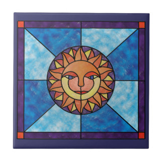 Sun Celestial Vintage Stained Glass Style Tile
