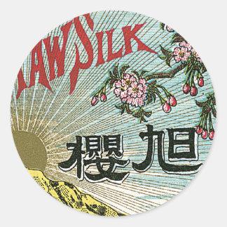 Sun & Cherry Flowers Vintage Japanese Silk Label Round Stickers