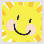 Sun Child Drawing Square Stickers