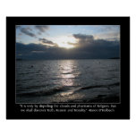 Sun, Clouds, Beach and D'Holbach Quote Poster