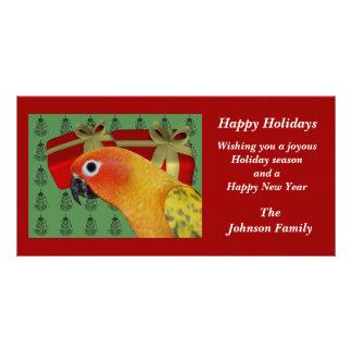 Sun Conure Parrot Animal Christmas Holiday Card Photo Greeting Card
