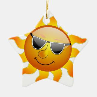 Sun Cool Sunshine Glossy Smile Summer Heat Christmas Ornament