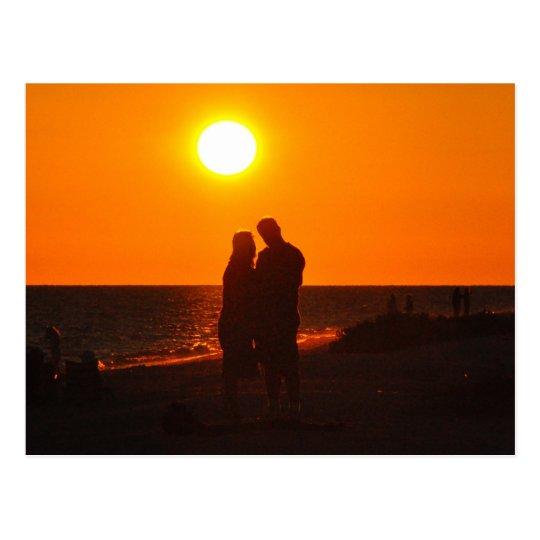Sun Couple Silhouette Love Sanibel Sunset Postcard