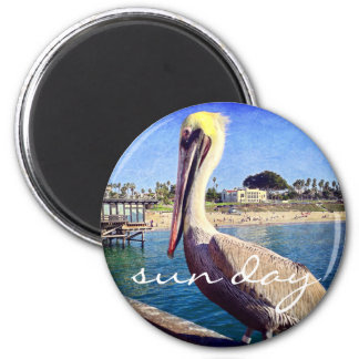 """Sun day"" quote beach pier pelican photo magnet"