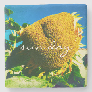 """Sun Day"" Quote Yellow Sunflower Close-up Photo Stone Coaster"