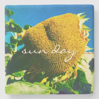 """Sun day"" yellow sunflower photo stone coaster"
