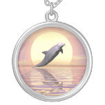 Sun Dolphin Round Pendant Necklace