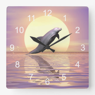 Sun Dolphin Square Wall Clock