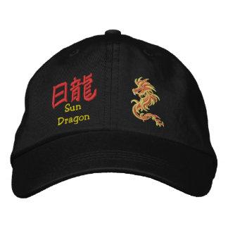 Sun dragon  symbols embroidered hats
