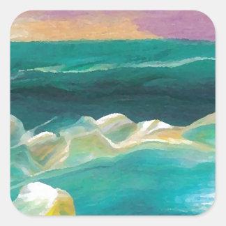 Sun Drama in the Ocean Waves Seascape Square Sticker