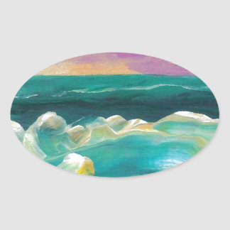 Sun Drama in the Ocean Waves Seascape Stickers