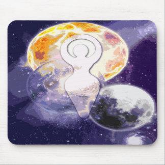 Sun Earth and Moon Goddess Mouse Pad