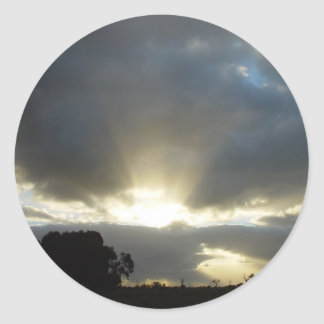 Sun Exploding Through Clouds On Wahroona At Wester Round Sticker