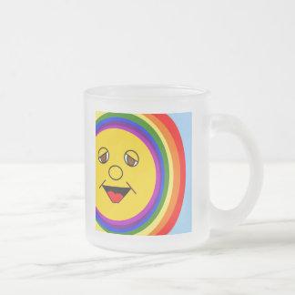 Sun Face and Rainbow Frosted Mug
