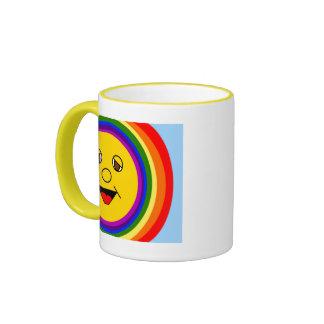 Sun Face and Rainbow Mug