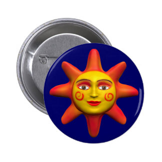 Sun face 6 cm round badge