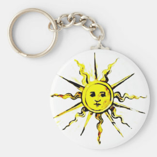 sun face - lost book of nostradamus basic round button key ring