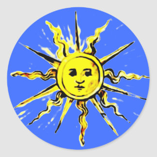 sun face - lost book of nostradamus classic round sticker