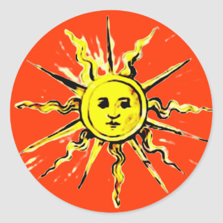 sun face - lost book of nostradamus round sticker