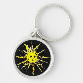 sun face - lost book of nostradamus Silver-Colored round key ring
