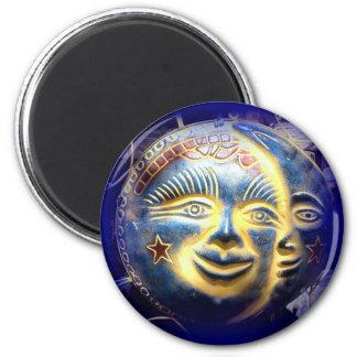 sun face/ moon face blue magnet